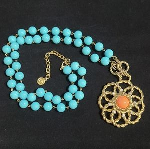 Vintage RJ Grazziano signed chunky flower Necklace